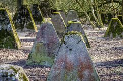 Nazi Anti-tank fortification. Concrete anti-tank nazi fortifications in the woods of Stolberg, Germany Stock Photography