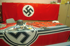 Nazi artifacts, hitler,. Nazi artifacts from ww2, red nazi flag Royalty Free Stock Photos