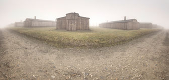 Nazi concentration camp Auschwitz I. Electric fence in former Nazi concentration camp Auschwitz I, Poland Royalty Free Stock Photography