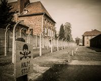 Nazi concentration camp Auschwitz I, Poland. Electric fence in former Nazi concentration camp Auschwitz I, Poland Royalty Free Stock Photography