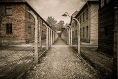 Nazi concentration camp Auschwitz I, Poland. Electric fence in former Nazi concentration camp Auschwitz I, Poland Stock Image