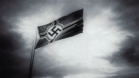 Nazi flag waves in a wind for documentary movie stock video footage