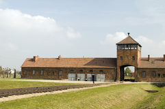 Nazi Germany concentration camp Auschwitz. Death Gate entrance building Nazi Germany concentration camp Auschwitz-Birkenau extermination camp royalty free stock photos