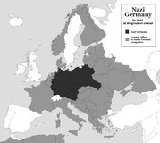 Nazi Germany WWII Greatest Extent. Nazi Germany at its greatest extent during WWII in 1942 - with german allies and states under german occupation. Historical Royalty Free Stock Photography