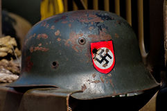 Nazi Helmet on American Jeep Royalty Free Stock Image