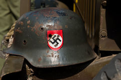 Nazi Helmet on American Jeep Stock Images
