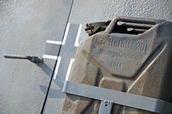 Nazi jerrycan. Canister beznina fixed on an armored car Nazi Germany Stock Images