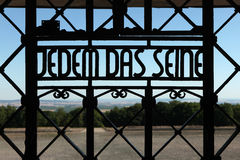 Nazi motto Jedem das Seine seen in the Buchenwald concentration Stock Photography