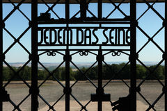 Nazi motto Jedem das Seine seen in the Buchenwald concentration. WEIMAR, GERMANY - JUNE 21, 2013: Notorious Nazi motto Jedem das Seine (To Each His Own) seen on Stock Photography
