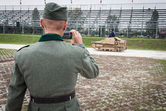 Nazi soldier and WW II Italian tank at Militalia 2013 in Milan, Italy Stock Photos