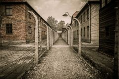 Naziconcentratiekamp Auschwitz I, Polen Stock Afbeelding