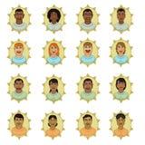 Nazionalità razziale degli avatar della gente Fotografia Stock