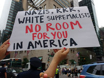 Nazis, KKK, White Supremacists, No Room For You In America, NYC, NY, USA. Protesters fill the streets surrounding Trump Tower in anticipation of the President`s Royalty Free Stock Photos