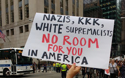 Nazis, KKK, White Supremacists, No Room For You In America, NYC, NY, USA. Protesters fill the streets surrounding Trump Tower in anticipation of the President`s Royalty Free Stock Image
