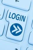 Nazwa użytkownika guzik przedkłada błękitną komputerową online sieć obraz royalty free