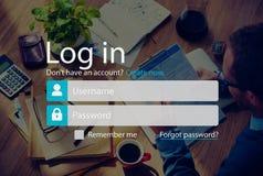Nazwa Użytkownika Podpisuje Up Metrykalnego Obrachunkowego strony pojęcie zdjęcie royalty free