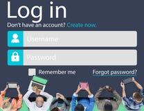 Nazwy użytkownika hasła tożsamości prywatności Internetowa Online ochrona Conc Obrazy Royalty Free