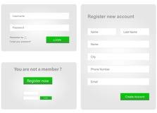 Nazwy użytkownika i rejestr sieci forma Zdjęcie Stock