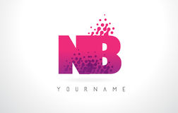 NB N.B.与桃红色紫色颜色和微粒小点Des的Letter Logo 库存图片