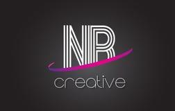 NB N.B.与线设计和紫色Swoosh的Letter Logo 免版税库存图片