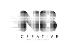 NB N B Letter Logo with Black Dots and Trails. Stock Image