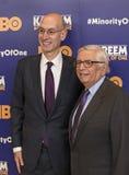 NBA Beauftragter Adam Silver und Vorgänger David Stern Stockfotos