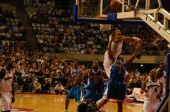 NBA in Europe - Chris Paul shoots under pressure Stock Image