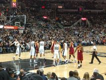 NBA game Spurs vs Cavs. Basketball NBA game Spurs vs Cavs in At at&t center in San Antonio TX January 14th 2016 royalty free stock photo