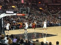 NBA game Spurs vs Cavs. Basketball NBA game Spurs vs Cavs in At at&t center in San Antonio TX January 14th 2016 royalty free stock photos