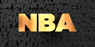 Nba - Gold text on black background - 3D rendered royalty free stock picture. This image can be used for an online website banner ad or a print postcard Stock Photography