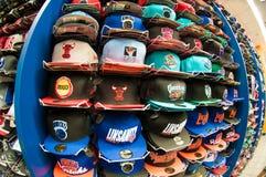 NBA hats. Various hats of NBA teams royalty free stock photo