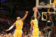 NBA Lakers Celtics Finals. Kevin Garnett and Kobe Bryant stock photography