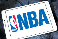NBA logo. Logo of american NBA , National Basketball Association, on samsung tablet stock images