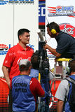 NBA player Yao Ming interviewed at NASCAR event Royalty Free Stock Image