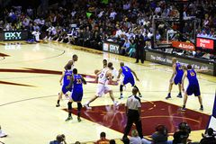 NBA pro basketball. Kyrie Irving of the Cleveland Cavaliers bring the ball up court versus the Golden State Warriors in a National Basketball Association (NBA) Stock Photography