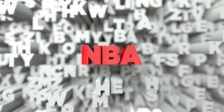 NBA - Röd text på typografibakgrund - 3D framförd fri materielbild för royalty vektor illustrationer