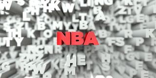NBA -  Red text on typography background - 3D rendered royalty free stock image Royalty Free Stock Image