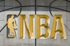 NBA Sign. NBA symbol in New York store. Photo taken on Apr 09th, 2011 stock photography