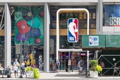 NBA Store Front In New York Stock Images
