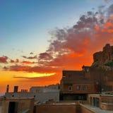 Nbatımı del ¼ de Mardin de GÃ, puesta del sol en Mardin imágenes de archivo libres de regalías