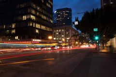 NBC新闻办公室圣地亚哥加利福尼亚在晚上 免版税图库摄影
