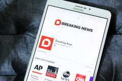 Nbc breaking news app logo. Downloading nbc breaking news application from google play store on samsung tab s2 stock photos