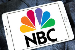 Nbc broadcasting company logo. Logo of national broadcasting company, nbc on samsung tablet royalty free stock photo