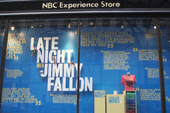 NBC Experience Store window display decorated with Late Night with Jimmy Fallon logo in Rockefeller Center in Midtown Manhattan Stock Photos