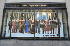 NBC Experience Store window display decorated with Saturday Night Life logo in Rockefeller Center Royalty Free Stock Photo