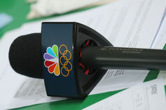 NBC microphone ready for interview during Rio 2016 Olympic Games Royalty Free Stock Photos