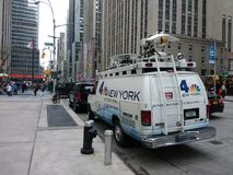 NBC 4 New York, Sendungs-Nachrichten Van, NYC, USA Lizenzfreies Stockfoto