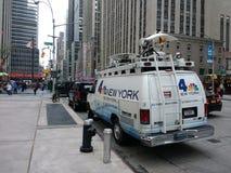 NBC 4 New York, TV-sändningnyheternaskåpbil, NYC, USA Royaltyfri Foto