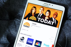 Nbc today news app logo. Downloading today application from nbc for news from google play store on samsung tab s2 stock photos