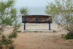 bench by the water stock photography